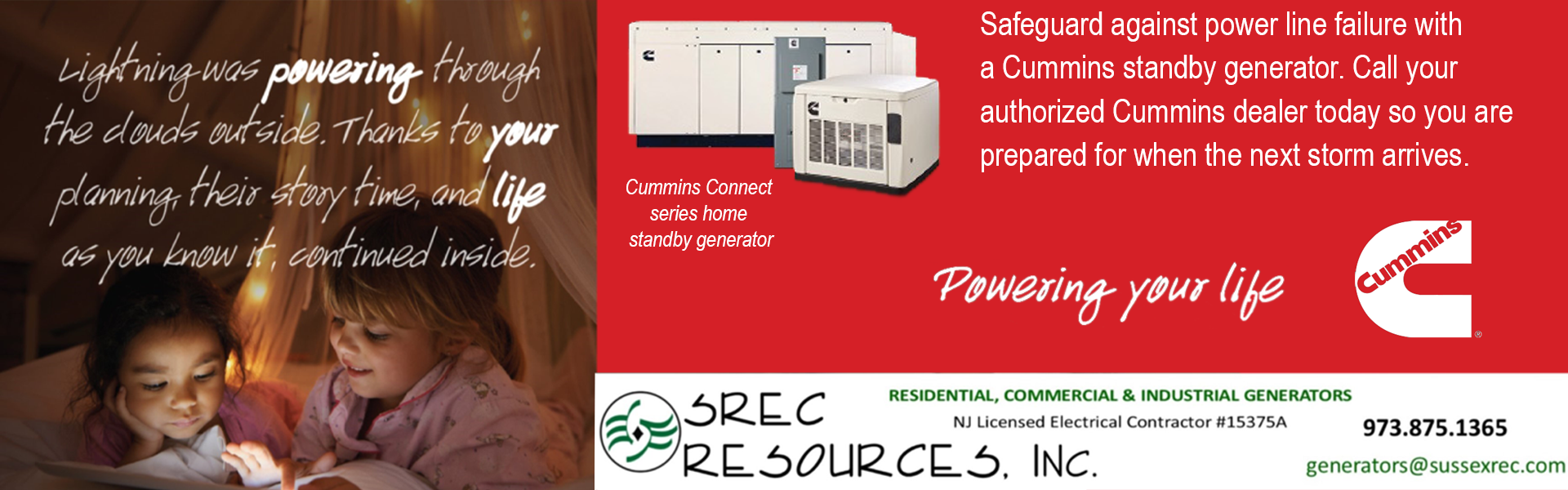 Cummins Generators - Installed by SREC Resources, NJ Licensed Elec. Contractor #15375A