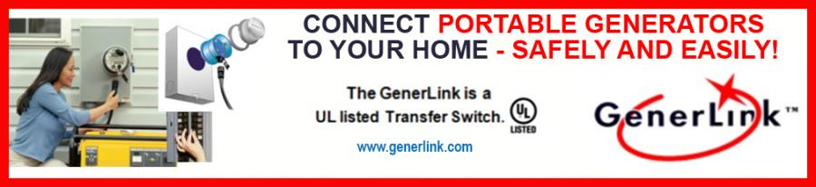 GenerLink is a UL listed Transfer Switch which helps you connect portable generators to your home - safely and easily!