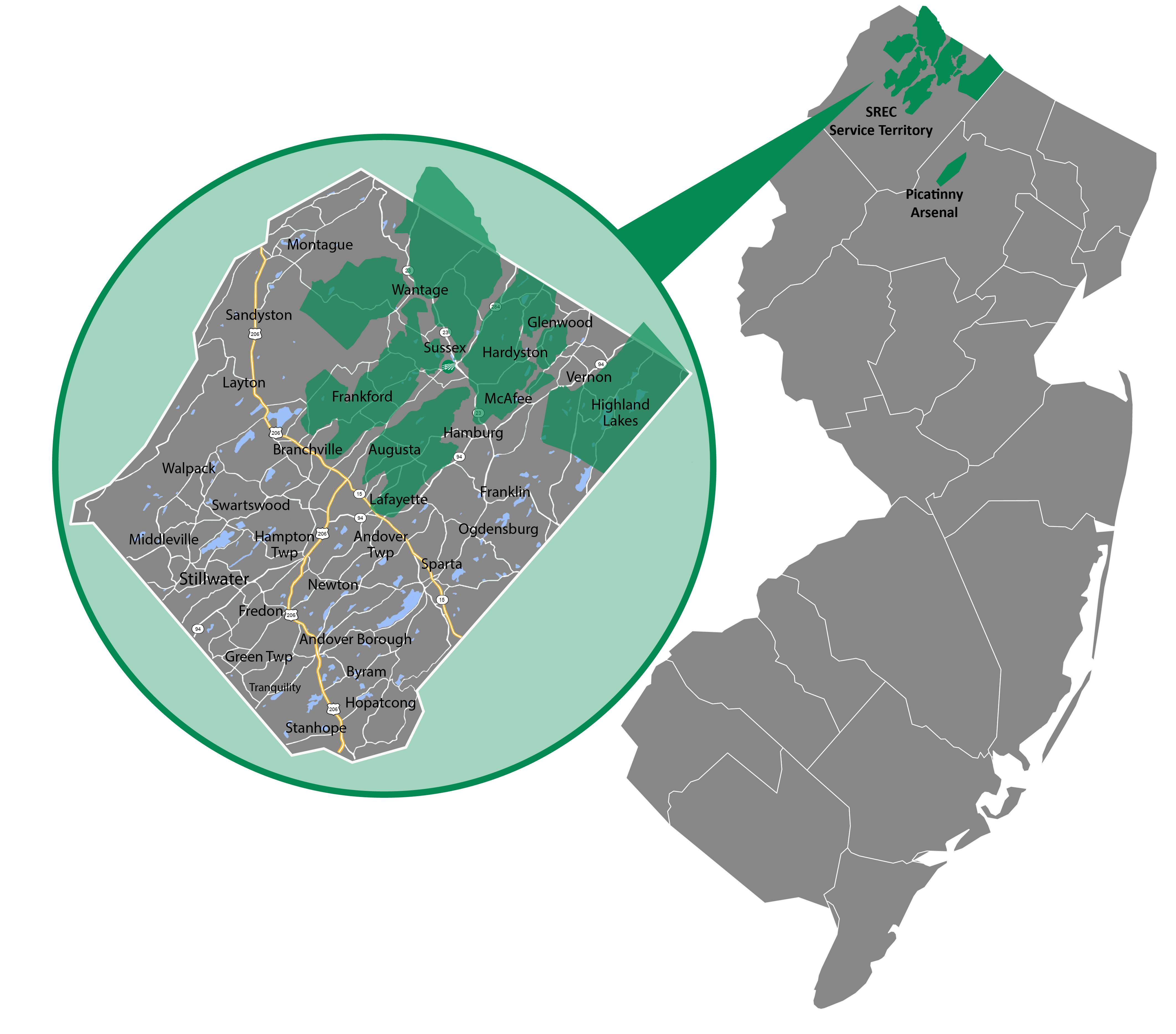 Sussex Rural Electric Cooperative Service Territory Map